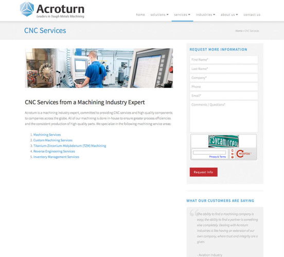 Acroturn New Services Page