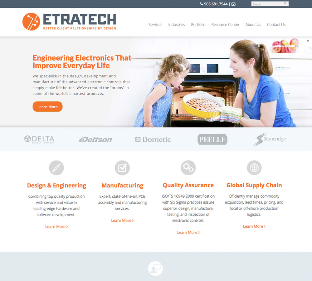 Etratech New Home Page Design