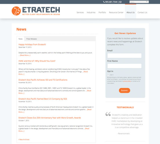 Etratech New News Page