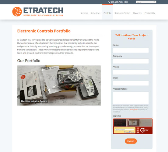 Etratech New Product Portfolio Page