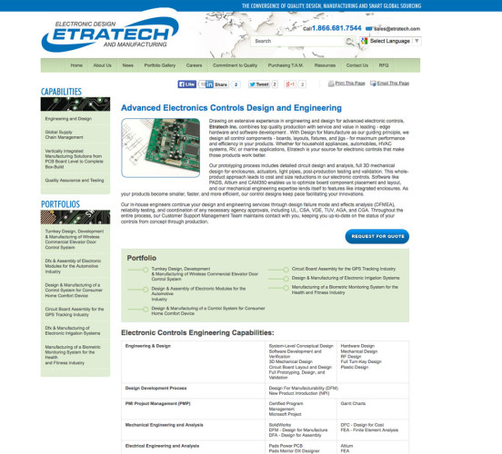 Etratech Old Design Engineering Page