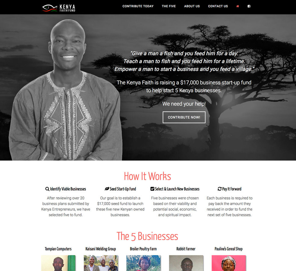 Kenya Faith Fund Home Page Design