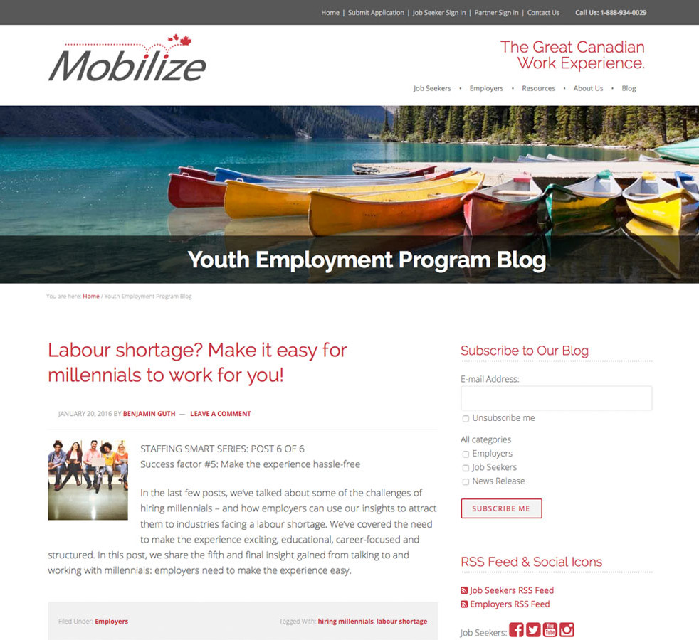 Mobilize Blog Page
