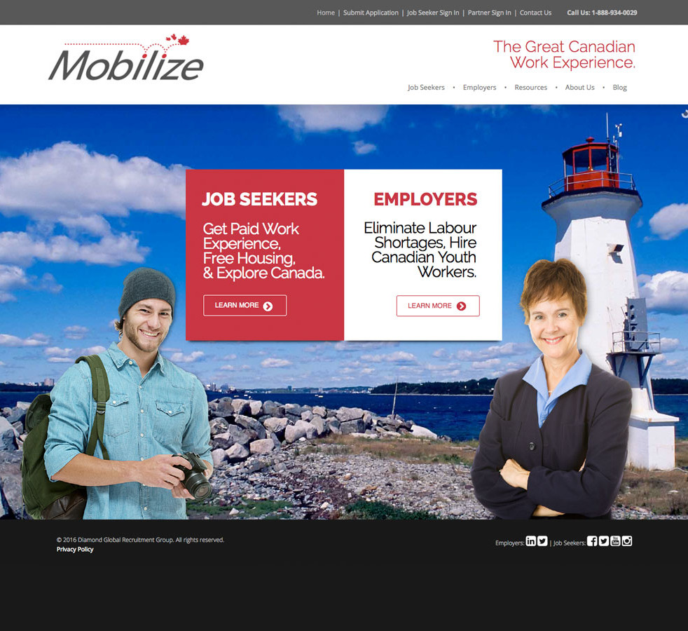 Mobilize Home Page Design