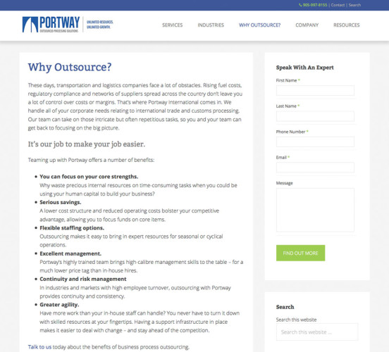 Portway New Why Outsource Page