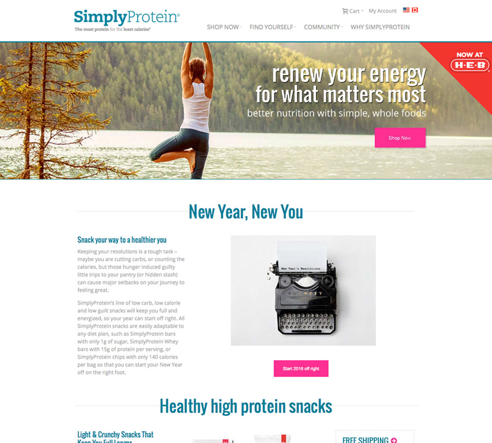 Simply Protein New Home Page Design