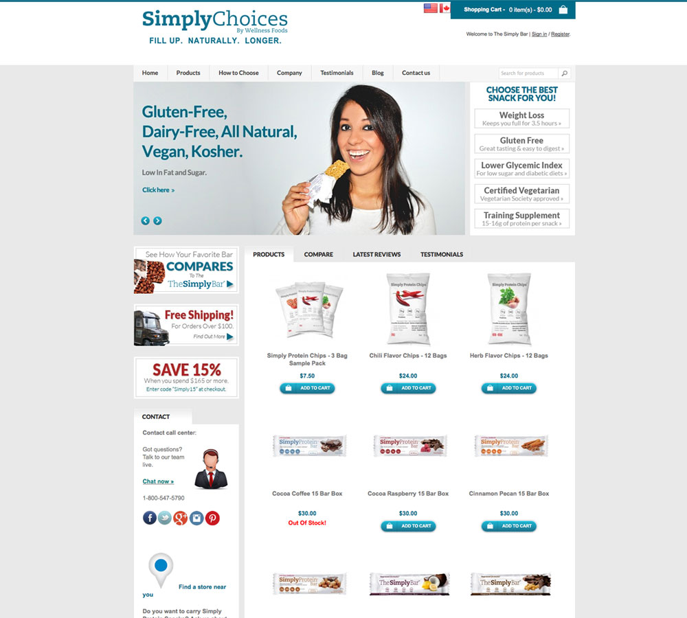 Simply Protein Old Home Page