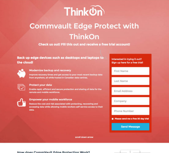 Old ThinkOn Commvault Page
