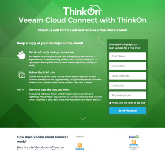 Old ThinkOn Veeam Cloud Connect Page