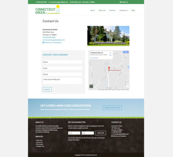 Connecticut Green Redesigned Contact Page